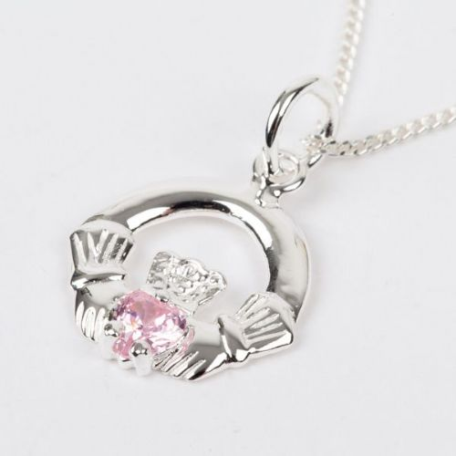 Sterling Silver Claddagh Birthstone Pendant with Pink Tourmaline CZ